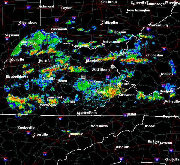 Radar Image for Severe Thunderstorms near Pikeville, KY at 6/16/2015 4:45 PM EDT