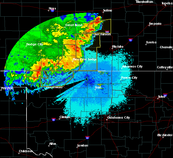 Radar Image for Severe Thunderstorms near Jet, OK at 6/15/2019 12:01 AM CDT