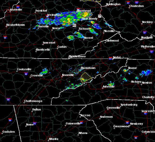 Radar Image for Severe Thunderstorms near Newport, TN at 6/16/2019 7:56 PM EDT