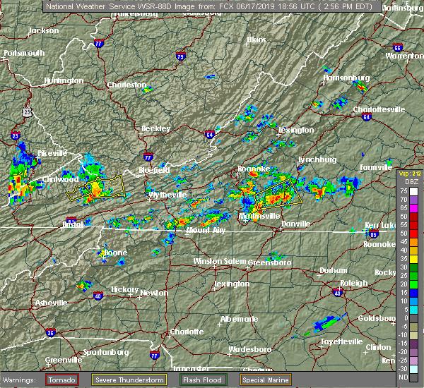 Radar Image for Severe Thunderstorms near Chatmoss, VA at 6/17/2019 3:02 PM EDT