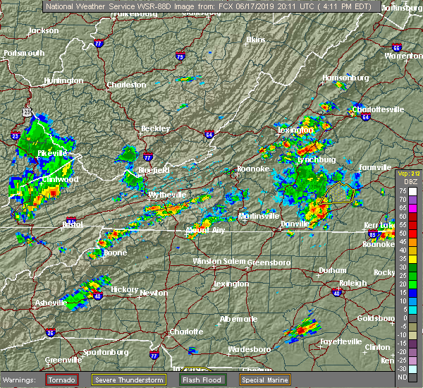 Radar Image for Severe Thunderstorms near Flat Rock, NC at 6/17/2019 4:18 PM EDT