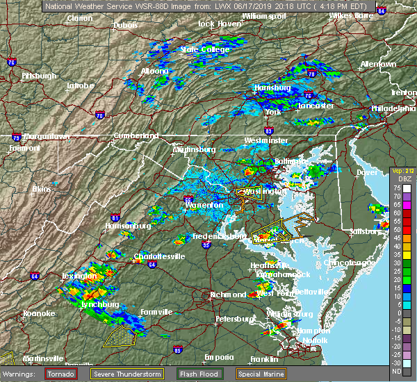 Radar Image for Severe Thunderstorms near Woodmore, MD at 6/17/2019 4:21 PM EDT