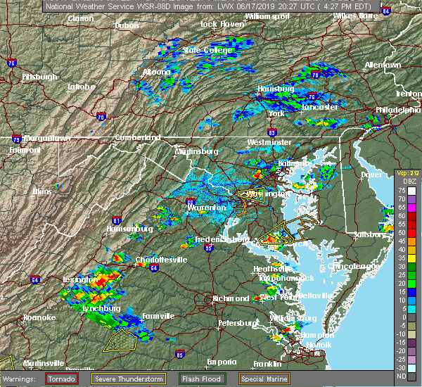 Radar Image for Severe Thunderstorms near Summerfield, MD at 6/17/2019 4:32 PM EDT