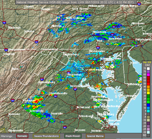 Radar Image for Severe Thunderstorms near Arbutus, MD at 6/17/2019 4:35 PM EDT