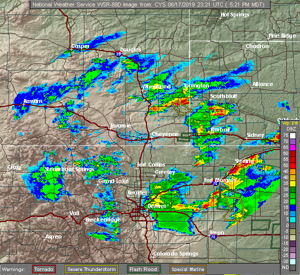 Radar Image for Severe Thunderstorms near Hawk Springs, WY at 6/17/2019 5:27 PM MDT