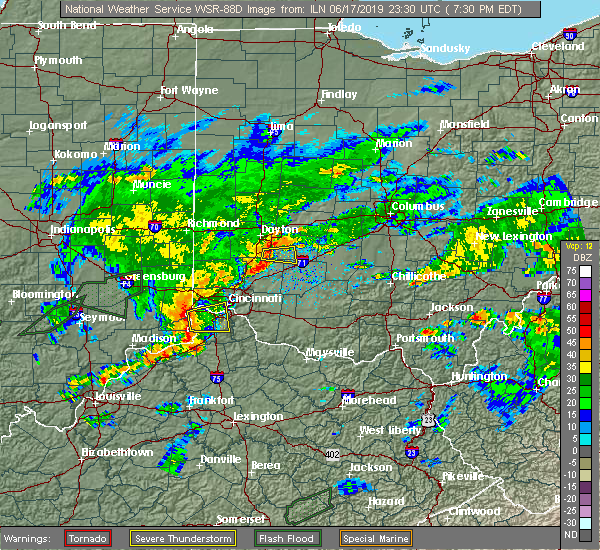 Radar Image for Severe Thunderstorms near Cincinnati, OH at 6/17/2019 7:36 PM EDT