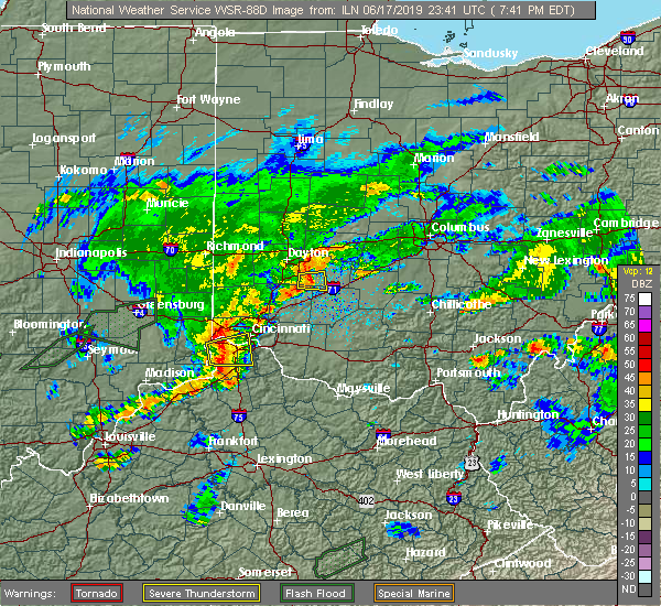 Radar Image for Severe Thunderstorms near Bellbrook, OH at 6/17/2019 7:43 PM EDT
