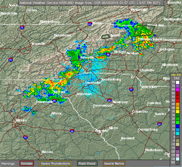 Radar Image for Severe Thunderstorms near Rosman, NC at 6/17/2019 9:59 PM EDT