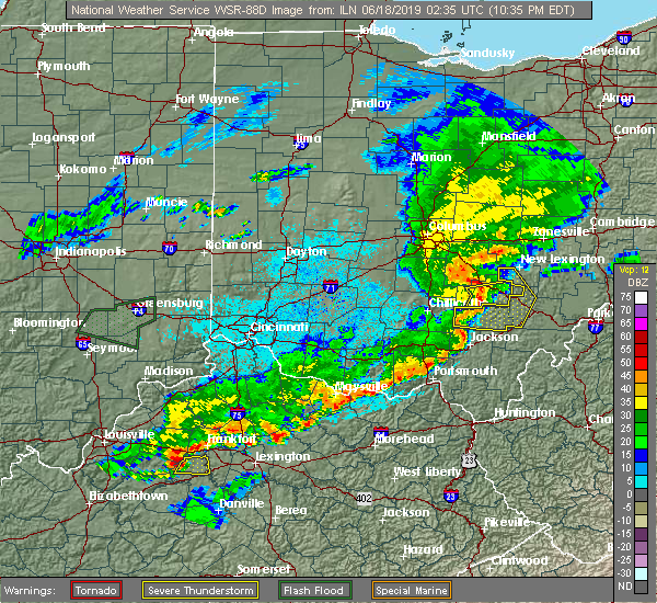 Radar Image for Severe Thunderstorms near Logan, OH at 6/17/2019 10:40 PM EDT