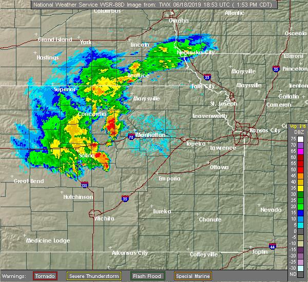 Radar Image for Severe Thunderstorms near Abilene, KS at 6/18/2019 1:57 PM CDT