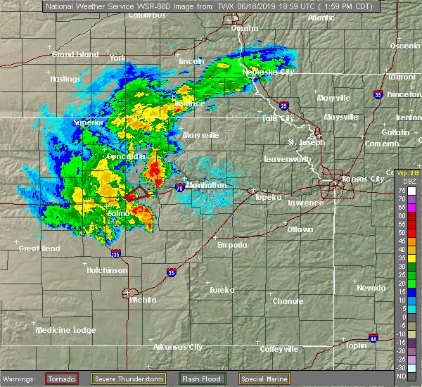 Radar Image for Severe Thunderstorms near Abilene, KS at 6/18/2019 2:05 PM CDT