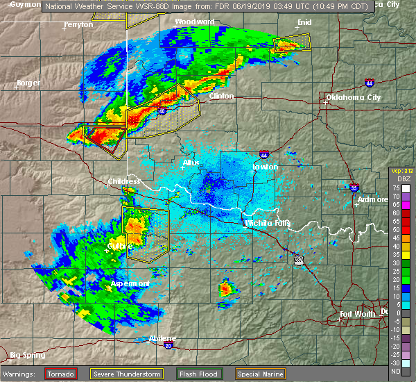 Radar Image for Severe Thunderstorms near Burns Flat, OK at 6/18/2019 10:52 PM CDT