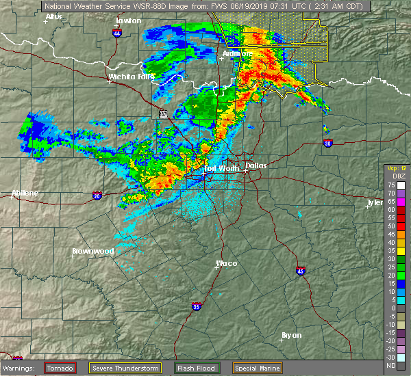 Radar Image for Severe Thunderstorms near Denison, TX at 6/19/2019 2:33 AM CDT
