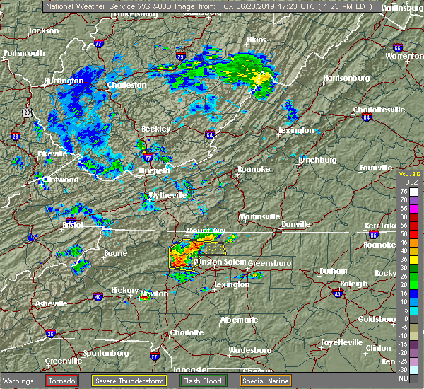 Radar Image for Severe Thunderstorms near Elkin, NC at 6/20/2019 1:25 PM EDT