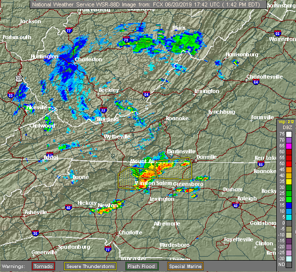 Radar Image for Severe Thunderstorms near High Point, NC at 6/20/2019 1:46 PM EDT