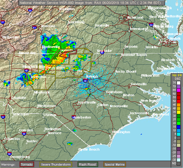 Radar Image for Severe Thunderstorms near Oxford, NC at 6/20/2019 2:36 PM EDT