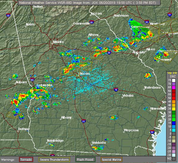 Radar Image for Severe Thunderstorms near Barnesville, GA at 6/20/2019 4:05 PM EDT