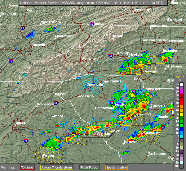 Radar Image for Severe Thunderstorms near Spencer Mountain, NC at 6/20/2019 4:23 PM EDT