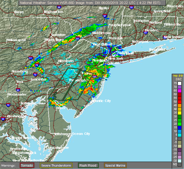 Radar Image for Severe Thunderstorms near Englishtown, NJ at 6/20/2019 4:27 PM EDT