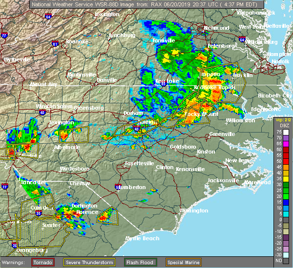 Radar Image for Severe Thunderstorms near Halifax, NC at 6/20/2019 4:44 PM EDT