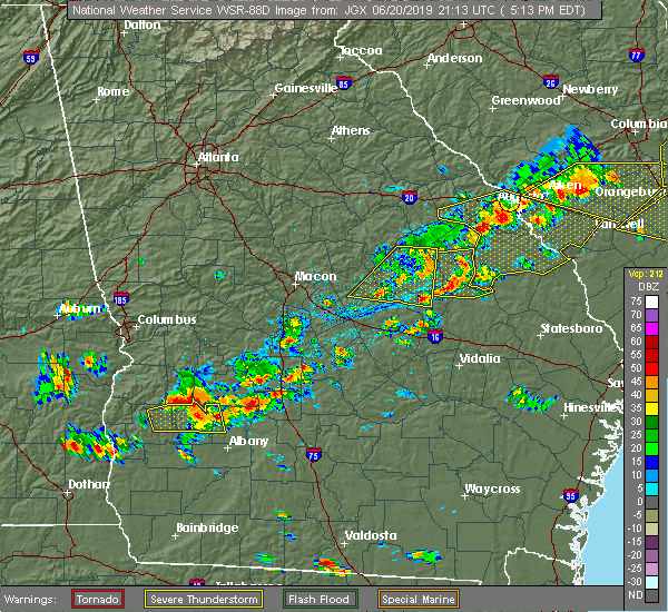 Radar Image for Severe Thunderstorms near Plains, GA at 6/20/2019 5:28 PM EDT