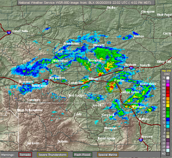 Radar Image for Severe Thunderstorms near Crow Agency, MT at 6/20/2019 4:05 PM MDT