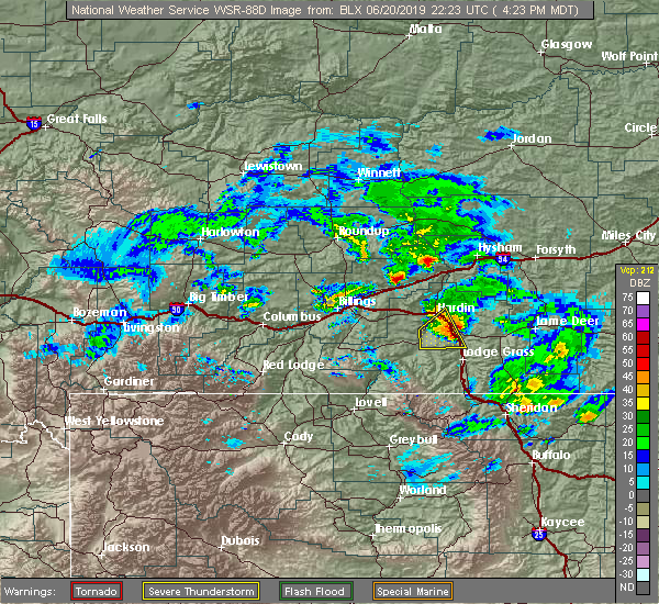 Radar Image for Severe Thunderstorms near Crow Agency, MT at 6/20/2019 4:27 PM MDT