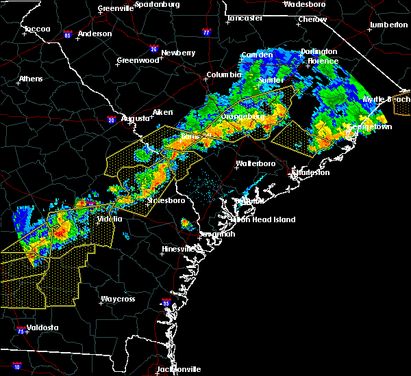 Radar Image for Severe Thunderstorms near Yemassee, SC at 6/20/2019 6:29 PM EDT