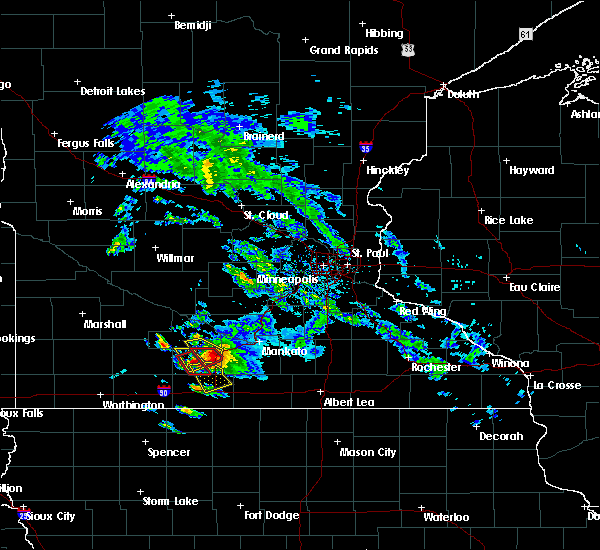 Radar Image for Severe Thunderstorms near Fairmont, MN at 6/20/2019 7:17 PM CDT