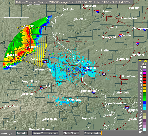 Radar Image for Severe Thunderstorms near Fulton, MO at 6/21/2019 9:23 AM CDT