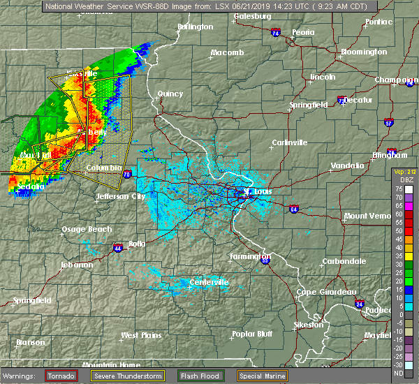 Radar Image for Severe Thunderstorms near Clark, MO at 6/21/2019 9:28 AM CDT