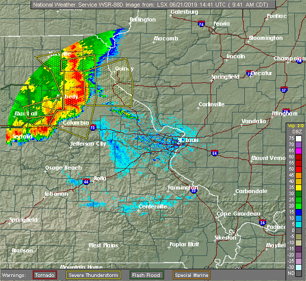 Radar Image for Severe Thunderstorms near Monroe City, MO at 6/21/2019 9:43 AM CDT
