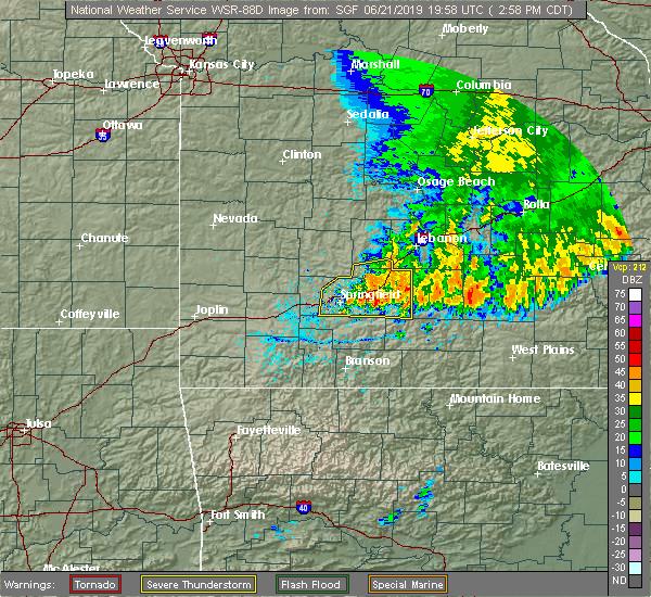 Radar Image for Severe Thunderstorms near Raymondville, MO at 6/21/2019 3:04 PM CDT