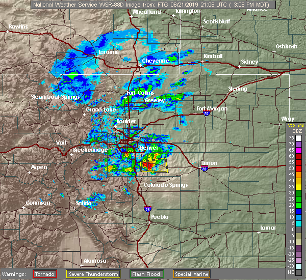 Radar Image for Severe Thunderstorms near Elbert, CO at 6/21/2019 3:10 PM MDT
