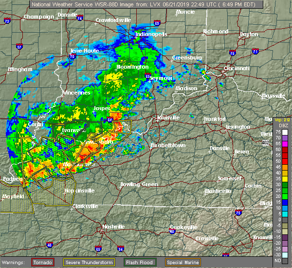 Radar Image for Severe Thunderstorms near Leavenworth, IN at 6/21/2019 6:51 PM EDT