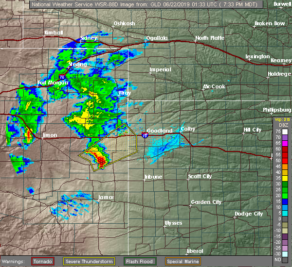 Radar Image for Severe Thunderstorms near Cheyenne Wells, CO at 6/21/2019 7:40 PM MDT