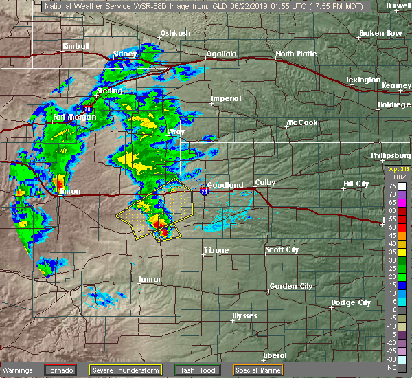 Radar Image for Severe Thunderstorms near Cheyenne Wells, CO at 6/21/2019 7:59 PM MDT