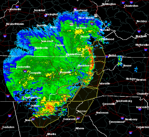 Radar Image for Severe Thunderstorms near Hayesville, NC at 6/22/2019 12:52 AM EDT