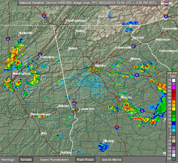 Radar Image for Severe Thunderstorms near Douglasville, GA at 6/22/2019 4:07 PM EDT