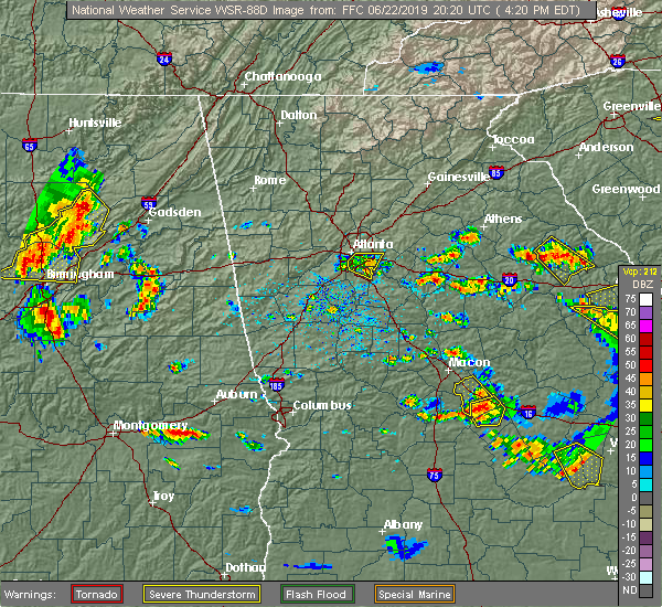 Radar Image for Severe Thunderstorms near Shady Dale, GA at 6/22/2019 4:24 PM EDT