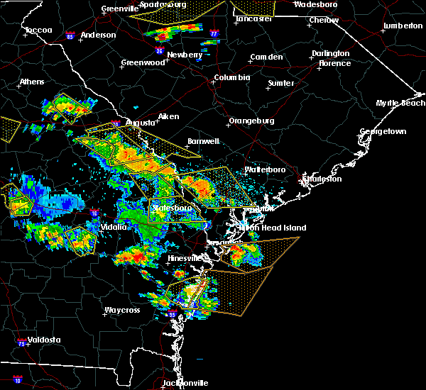 Radar Image for Severe Thunderstorms near Yemassee, SC at 6/22/2019 4:29 PM EDT