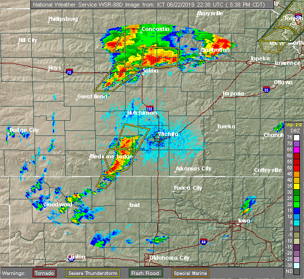 Radar Image for Severe Thunderstorms near Andale, KS at 6/22/2019 5:45 PM CDT