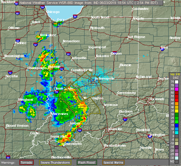 Radar Image for Severe Thunderstorms near Indianapolis, IN at 6/23/2019 2:55 PM EDT