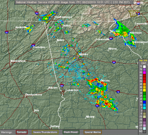 Radar Image for Severe Thunderstorms near Candler-McAfee, GA at 6/23/2019 2:58 PM EDT