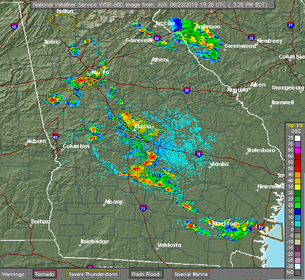 Radar Image for Severe Thunderstorms near Macon, GA at 6/23/2019 3:33 PM EDT