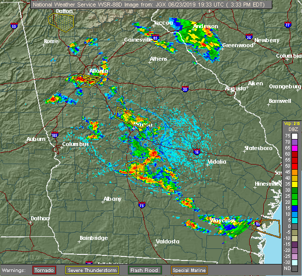 Radar Image for Severe Thunderstorms near Macon, GA at 6/23/2019 3:39 PM EDT
