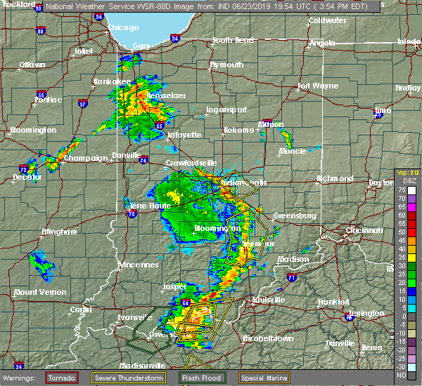 Radar Image for Severe Thunderstorms near Indianapolis, IN at 6/23/2019 4:01 PM EDT