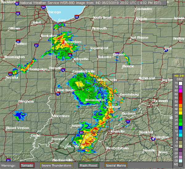 Radar Image for Severe Thunderstorms near Greenfield, IN at 6/23/2019 4:07 PM EDT