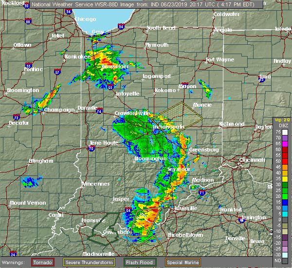 Radar Image for Severe Thunderstorms near Greenfield, IN at 6/23/2019 4:24 PM EDT