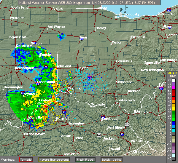Radar Image for Severe Thunderstorms near Greenhills, OH at 6/23/2019 5:31 PM EDT
